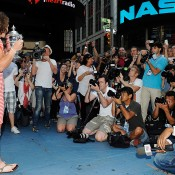 The media pack in front of Sam Stosur in Times Square. Getty Images