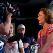 Sam Stosur photo opportunity and interviews at Times Square New York. Photo: Mark Riedy.