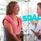 Sam Stosur talks to Grant Denyer at Times Square New York. Photo: Mark Riedy.