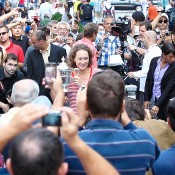 Sam Stosur is mobbed by fans at Times Square in New York. Photo: Mark Riedy