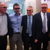 Australian tennis celebrates Sam Stosur's US Open win (l to r:) Scott Draper, John Fitzgerald, Craig Morris, Craig Tiley, Steve Wood and Neale Fraser.