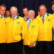 Australian Davis Cup players past and present gather in Sydney to receive their gold jackets. GETTY IMAGES