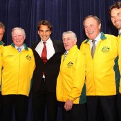 Six No.1s (l to r): Lleyton Hewitt, Frank Sedgman, Roger Federer, Ken Rosewall, John Newcombe and Pat Rafter. GETTY IMAGES