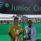 Jacob Grills (left) and Naiktha Bains in Gosford. TENNIS AUSTRALIA