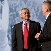 Roy Emerson (left) and Craig Tiley at the Australian Open 2012 launch at Melbourne Park. TENNIS AUSTRALIA