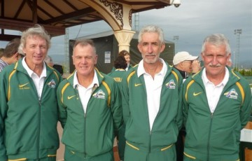 The Australian 60s Seniors team at the World Championships in Turkey (l to r:) Max Bates (Qld) Andrew Rae (Vic), Ray Bray(Qld) and Roger Davey(SA)