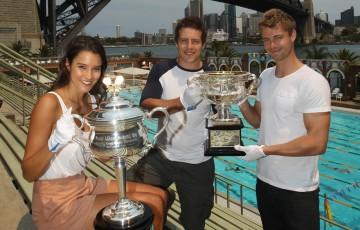 Home & Away actors with the Australian Open trophies. TENNIS AUSTRALIA