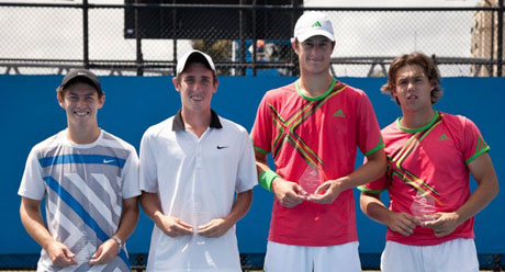 Optus 18s Australian Championships boys' doubles finalists: Darren Polkinghorne, Rhys Johnson, Joey Swaysland and Jay Andrijic. Credit: Tom Ross