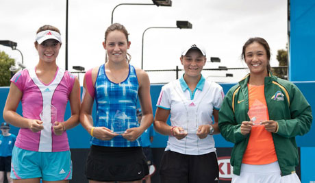 Optus 18s Australian Championships girls' doubles: Rachel Tredoux, Ebony Panaho, Ash Barty and Lyann Hoang. Credit: Tom Ross