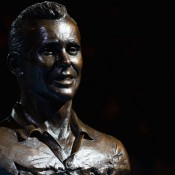 A bronze bust of Ken Fletcher, Melbourne, 2012. GETTY IMAGES