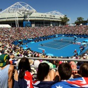 A packed Margaret Court Arena for the James Duckworth and Matt Ebden matches. GETTY IMAGES