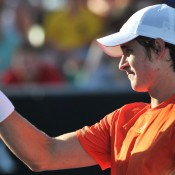This close: Ben Mitchell fought hard but came up short against big-serving American John Isner. AFP