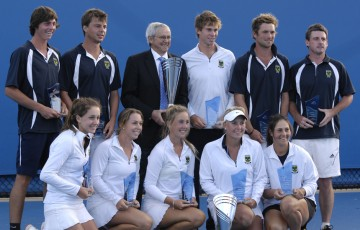 Kooyong's winning men's and women's teams at the National Tennis League finals at Melbourne Park; Mae Dumrigue