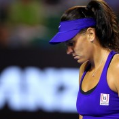 Casey Dellacqua ponders her next move against Victoria Azarenka. GETTY IMAGES