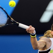 Jelena Dokic crunches a forehand, but it wasn't enough. AFP