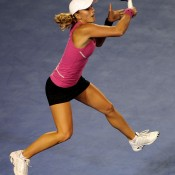 She may be flying here, but Anastasia Rodionova was soon brought down to earth by world No.1 Caroline Wozniacki. AFP