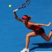 Olivia Rogowska on the run during her second-round match versus 2011 finalist Li Na. GETTY IMAGES