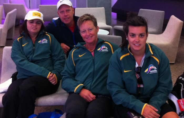 Australian Wheelchair Tennis team: (L-R) Luba Josevski, National Wheelchair Coach Greg Crump, Janel Manns and Sarah Calati; Tennis Australia