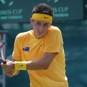 Bernard Tomic at the Davis Cup tie in Geelong: Kim Trengove