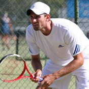 Canadian Erik Chvojka in action at the men's Pro Tour event at the Mildura Lawn Tennis Club in Mildura, Victoria; Graham Clews