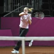 Jelena Dokic belts a forehand. (freshfocus)