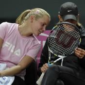 Jelena Dokic and team coach Nicole Bradtke. (freshfocus)