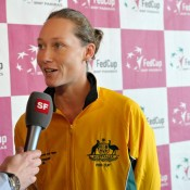 Sam Stosur answers questions following the Australian team's press conference. (freshfocus)