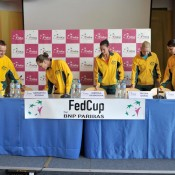 The Australians arrive for their pre-tie press conference. (freshfocus)