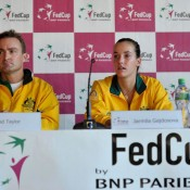 Team captain Dave Taylor and Jarmila Gajdosova face the media following Gajdosova's loss in the second rubber. FRESHFOCUS