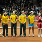 The Australians take part in the opening ceremony on day 1 of the tie in Fribourg. FRESHFOCUS