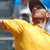 Chris Guccione serves during the Davis Cup tie in Geelong: Kim Trengove