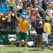 Chris Guccione waves to the crowd after winning his singles rubber against Wu Di at the Davis Cup tie at Geelong: Kim Trengove