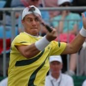 Lleyton Hewitt in action at the Davis Cup in Geelong: Darren Pearce