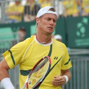 Lleyton Hewitt wins in straight sets over Zhang Ze in the opening singles at the Davis Cup tie in Geelong: Kim Trengove
