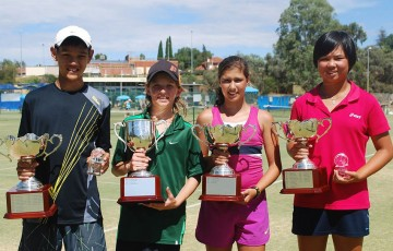 2012 Optus 12s and 14s National Grasscourt Championships winners (L-R): Brian Tran, Matthew Romios, Jaimee Fourlis and Olivia Tjandramulia; Tennis Australia
