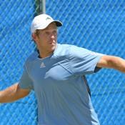 Brydan Klein in action at the men's Pro Tour event at the Mildura Lawn Tennis Club in Mildura, Victoria; Graham Clews