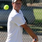 James Lemke in action at the men's Pro Tour event at the Mildura Lawn Tennis Club in Mildura, Victoria; Graham Clews
