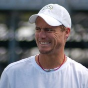 Lleyton Hewitt reacts during practice: Tennis Australia