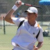 Matheson Klein in action at the men's Pro Tour event at the Mildura Lawn Tennis Club in Mildura, Victoria; Graham Clews