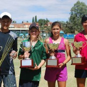 Optus 12s and 14s singles winners (L-R) Brian Tran, Matthew Romios, Jaimee Fourlis and Olivia Tjandramulia; Getty Images