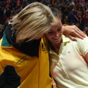 Nicole Bradtke celebrates with Jarmila Gajdosova (right) after she clinches the winning rubber. TENNIS AUSTRALIA