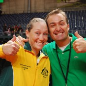 Sam Stosur (left) and Dave Taylor enjoy the win in Fribourg. TENNIS AUSTRALIA