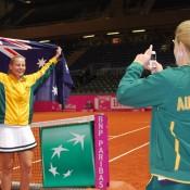 Jelena Dokic (left) celebrates the moment. TENNIS AUSTRALIA