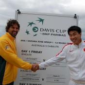 Australian Davis Cup captain Pat Rafter with Chinese captain Shao Xuan Zeng: Tennis Australia