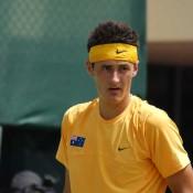 Bernard Tomic lines up Wu Di in the Davis Cup tie at Geelong: Kim Trengove