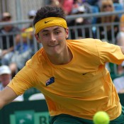 Bernard Tomic in action at the Davis Cup tie in Geelong: Kim Trengove