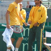 Bernard Tomic and Pat Rafter at the change of ends during the Davis Cup tie between Australia and China in Geelong: Kim Trengove