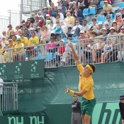 Bernard Tomic serves during the Davis Cup tie against China in Geelong: Kim Trengove