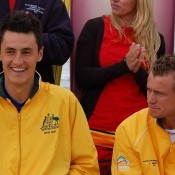 Bernard Tomic and Lleyton Hewitt at the Official Davis Cup draw at Ocean Grove: Tennis Australia