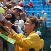 Matt Ebden signs autographs at the Davis Cup tie in Geelong: Kim Trengove